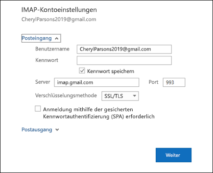 Wählen Sie Server Einstellungen aus, um Ihren Benutzernamen, Ihr Kennwort und ihre Servereinstellungen zu ändern.