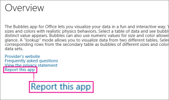 "Office Store-Link ""Diese App melden"""
