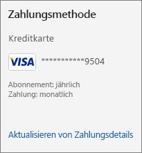 """Abschnitt """"Zahlungsmethode"""" der Seite """"Abonnements"""" mit dem Link """"Aktualisieren von Zahlungsdetails"""""""