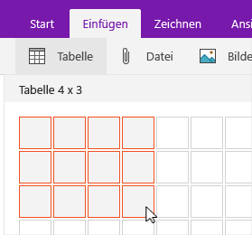 """Befehl """"Tabelle einfügen"""" mit Auswahlraster"""
