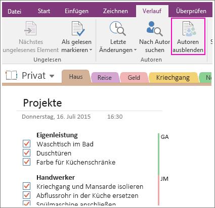 """Screenshot der Schaltfläche """"Autoren ausblenden"""" in OneNote 2016"""