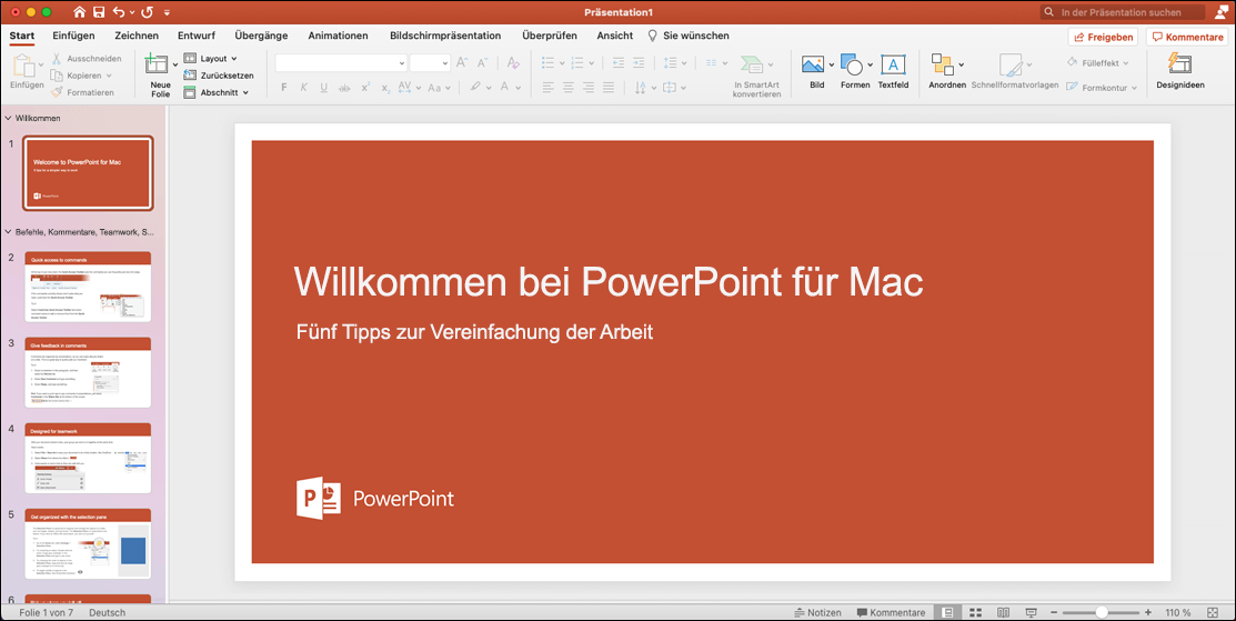 """PowerPoint 2021 für Mac mit geöffneter Vorlage """"Eine Tour machen"""""""
