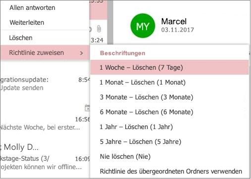 Screenshot mit Beispielaufbewahrungsrichtlinien in Gruppen in Outlook im Web
