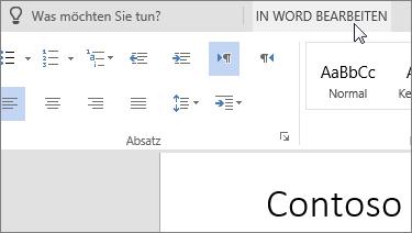 """""""In Word bearbeiten"""" auswählen, um zur Desktopversion zu wechseln"""