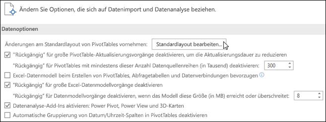 """Bearbeiten des PivotTable-Standardlayouts über """"Datei > Optionen > Daten"""""""