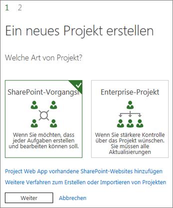 Erstellen eines neuen Projekts