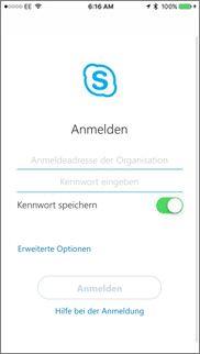 Anmeldebildschirm für Skype for Business unter iOS
