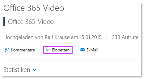 Office 365 Video: Einbindungscode