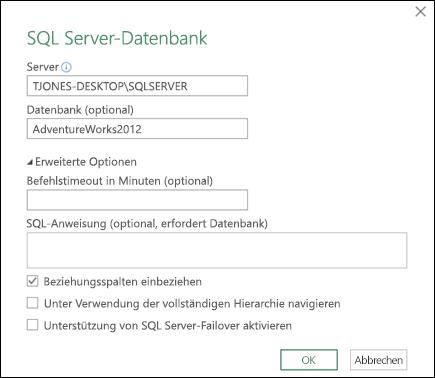 Power Query-Dialogfeld zum Herstellen der Verbindung zu einer SQL Server-Datenbank