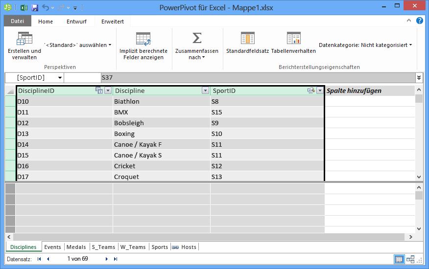 Felder kopieren in PowerPivot