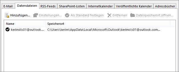 """Registerkarte """"Datendateien"""" im Outlook-Dialogfeld """"Kontoeinstellungen"""", hier mit dem Speicherort der Outlook-Datendateien für einen benannten Benutzer"""