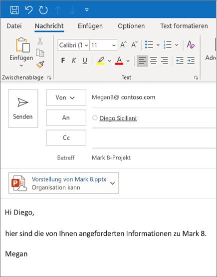 Freigeben einer Datei als Anlage