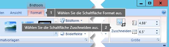 """Schaltfläche """"Zuschneiden"""" auf der Registerkarte """"Format"""" unter """"Bildtools"""""""