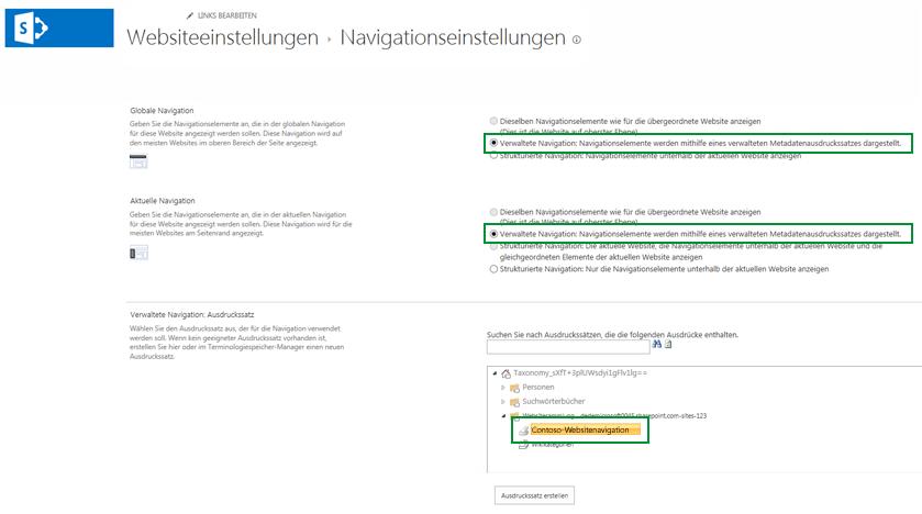 Aktivieren der verwalteten Navigation für eine Website