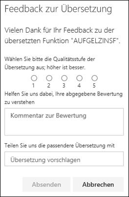 """Bereich """"Feedback zum Funktionenübersetzer"""""""