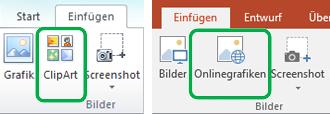 """Verwenden Sie die Registerkarte """"Einfügen"""" im Menüband von Office, um Onlinebilder, vormals als ClipArt bezeichnet, einzufügen."""