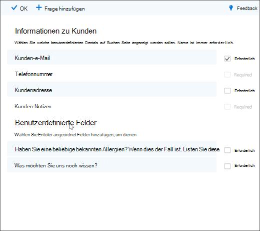 Bildschirmaufnahme: Anzeigen des Administrators, der benutzerdefinierte Fragen erstellt.