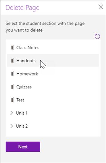 Wählen Sie den Abschnitt Student mit der Seite aus, die Sie löschen möchten.