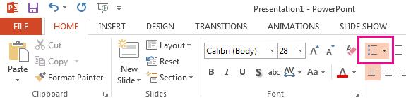 """Das Symbol """"Aufzählungszeichen"""" befindet sich auf der Registerkarte """"Start""""."""