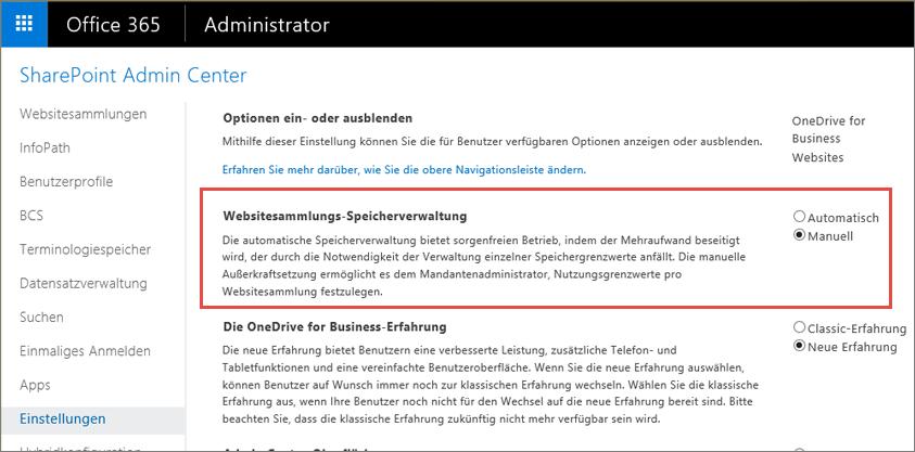 """Einstellungsbildschirm von Office 365 SharePoint Online, """"Websitesammlungsverwaltung"""" hervorgehoben"""