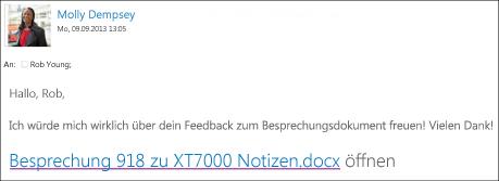 Eine E-Mail mit einem Link zu einem freigegebenen Dokument