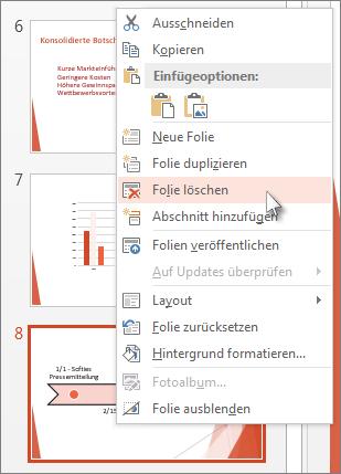 Mit der rechten Maustaste in PowerPoint auf die Miniaturansicht einer Folie klicken und dann auf 'Folie löschen' klicken