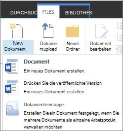 """Schaltfläche """"neue Dokument"""" mit Dropdownmenü Menüband"""