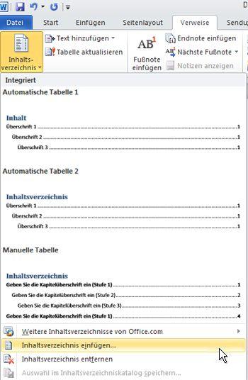 Inhaltsverzeichnis einfügen