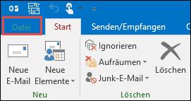 """Outlook 2016-Registerkarte """"Datei"""""""