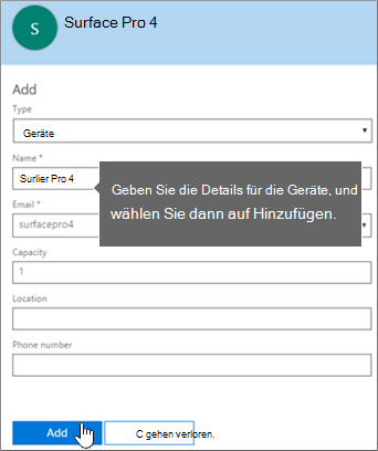 Hinzufügen einer Gerätepostfachs in Office 365