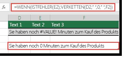 Als Problemumgehung verwendete Funktionen WENN und ISTFEHLER, um eine Zeichenfolge mit einem #WERT!-Fehler zu verketten