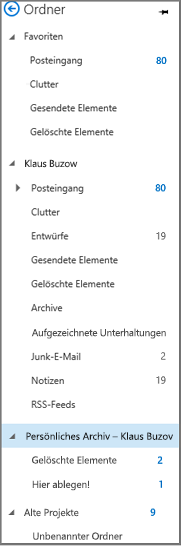 """Navigationsbereich in Outlook, """"Persönliches Archiv"""" hervorgehoben"""