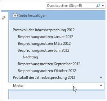 Seiten mit Unterseiten können erweitert und reduziert werden.