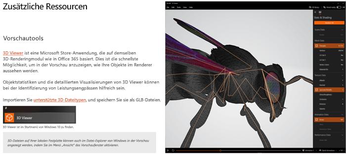 """Screenshot des Abschnitts """"zusätzliche Ressourcen"""" in den Richtlinien für 3D-Inhalte"""