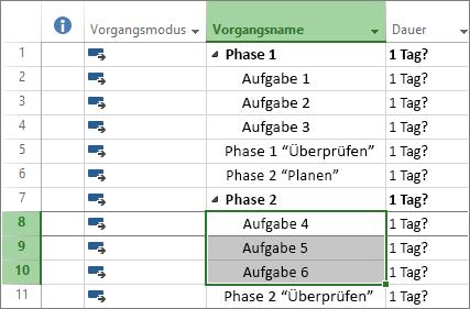 Screenshot gegliederter Vorgänge in einem Projektplan
