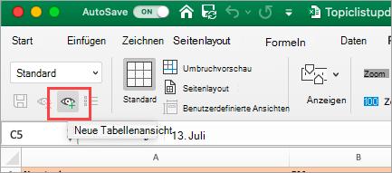 Zeigt eine Excel-Tabelle an