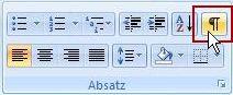 """Die Schaltfläche für den Befehl """"Formatierungszeichen ein-/ausblenden"""" sieht wie eine Absatzmarke aus."""