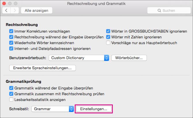 """Klicken Sie in """"Rechtschreibung und Grammatik"""" auf """"Einstellungen"""", um Kategorien von Grammatikproblemen auszuwählen, die Word überprüfen soll."""