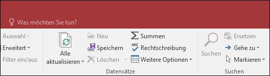 """Abbildung des Suchfelds """"Sie wünschen"""" im Access-Menüband"""