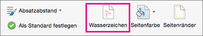"""Auf der Registerkarte """"Entwurf"""" ist die Option """"Wasserzeichen"""" hervorgehoben."""