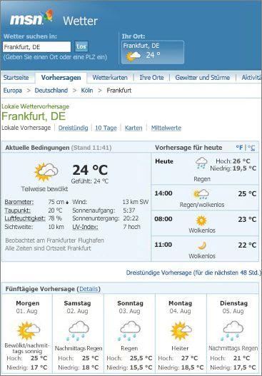 MSN-Seite mit Wettervorhersage für Montreal