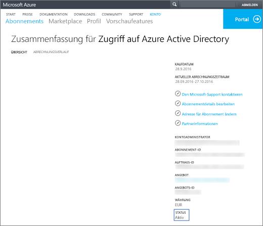 Screenshot der Übersichtsseite der Zusammenfassung für den Zugriff auf Azure Active Directory. Informationen wie Anschaffungsdatum, aktueller Abrechnungszeitraum, Kontoadministrator, Abonnement-ID, Bestell-Nr., Angebot, Angebot-ID, Währung und Status werden angezeigt.