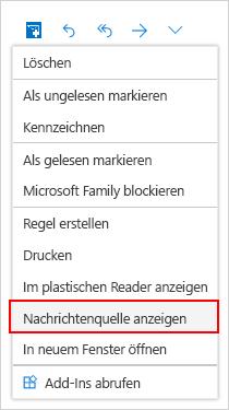 """Auswahl des Fenster """"Nachrichtenquelle"""""""