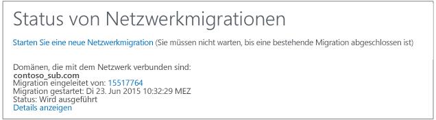 Screenshot mit dem Status der Netzwerkintegration – Yammer-Netzwerkintegration wird ausgeführt