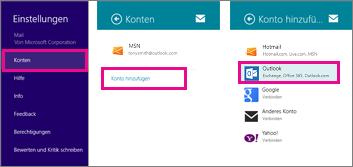 Menüseiten in Windows 8 Mail: Einstellungen > Konten > Konto hinzufügen