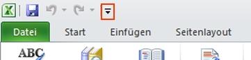 Befehl 'Sprechen' der Excel-Symbolleiste für den Schnellzugriff