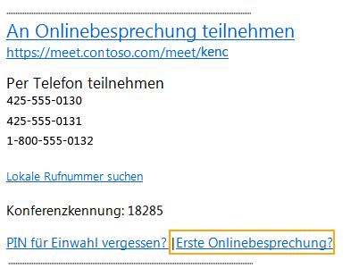 E-Mail-Nachricht zur Teilnahme an der Onlinebesprechung