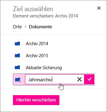 Dialogfeld zum Verschieben einer Datei mit Eingabe eines neuen Ordnernamens