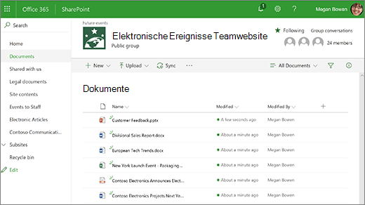 Teamwebsite-Bibliothek mit Dateien
