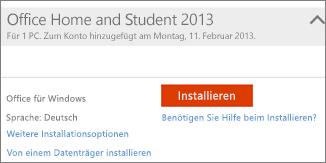 """Screenshot von """"Installieren"""" und des Links für """"Weitere Installationsoptionen"""""""